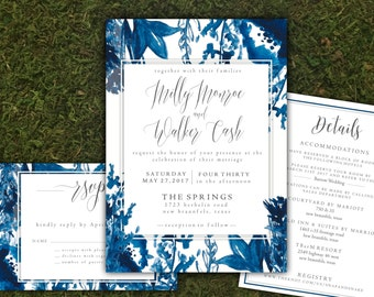 Indigo Watercolor Floral Invitation Suite