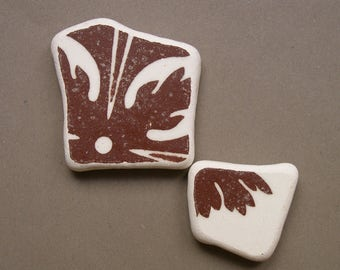 2 pendant shaped  pieces,Brown/White Patterned ,  Sea Pottery Lot,Pendant Sized,  Mosaic Pieces,