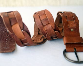 "Vintage Genuine Leather Belt 32""-36"""