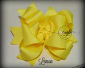Lemon Solid Color Boutique Style Bows - Hair Bow - Hairbow - Basic Bows - Layered Bows - Yellow Bows - Back to School - All Color Bows