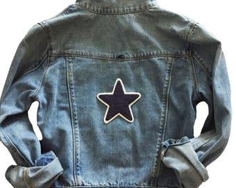 Custom Denim Jacket with Star Patch