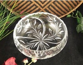 ON SALE Hand Cut Crystal Rose Bowl, Candy Dish / Czech