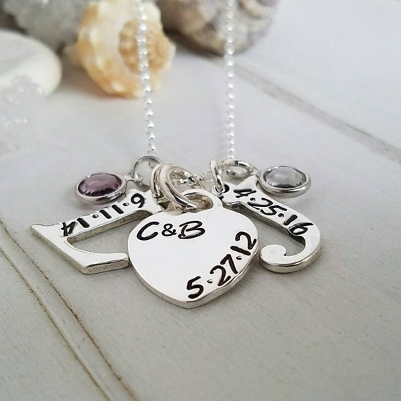 Personalized initial necklace, Sterling silver, Letter and Date Necklace, Custom Mother Necklace, Initial and date necklace, Birthstones