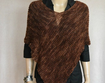Knitted Cover Up, Women Poncho, Brown Poncho, Knitted Poncho, Boho Poncho, Bohemian Poncho,  Brown Cover Up, Handmade Poncho,