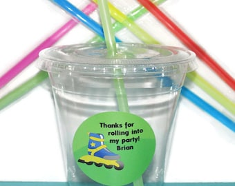 Rollerblade Party Cups, Birthday Cups, Boy Rollerblade Party Cups, 20 Cups, Rollerblade Kids Party Cups, Straws and Lids, 12 Ounce Cups