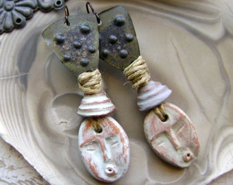 Just Whistle assemblage mixed media earrings, textured metal, ceramic faces, lightweight, organic rustic tribal earrings,  AnvilArtifacts