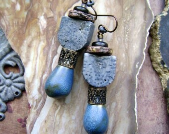 blue artisan ceramic earrings with blue sponge and filigree beads, mixed media assemblage earrings, rustic handmade jewelry, AnvilArtifacts