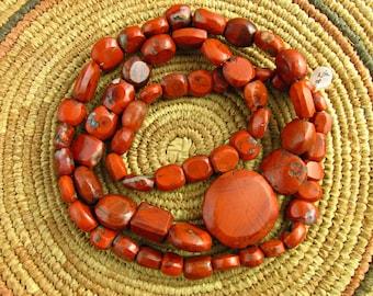 Rare Antique African Red Jasper Beads