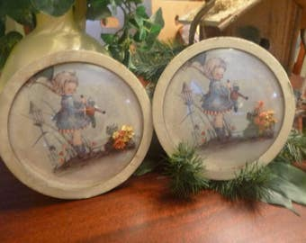 2  Marion Bradford Burgess Handmade Convex Glass Round Pictures Of Little Girl  7 in Diameter    (T)