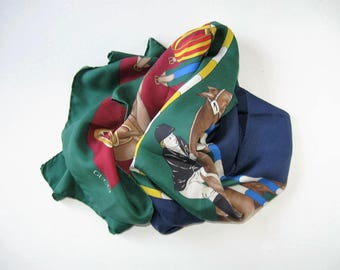"Vintage Italian Gucci Equestrian Silk Scarf, Jumping Horse and Rider, Maroon, Green, Blue, 35"" x 34"", saddles, hand rolled hem, gift idea"