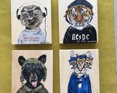 Choose ONE MillAnnial art block. Beaver. Tiger. Bear. Ocelot. Original animal art.