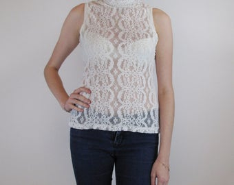 Ivory lace camisole sleeveless and high neck collar