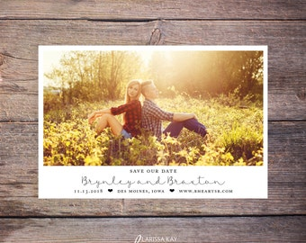 Save the Date Postcard, Save-the-Date Card, Calendar, Photo, Blue, DIY Printable, Digital File – Brynley