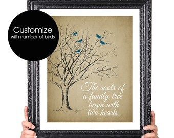 Two Hearts, Wedding Anniversary Gift, Family Tree Print Birds, Gift for Her, Gift for Wife, Family Quote Art, Familly Gifts, Gift for Moms