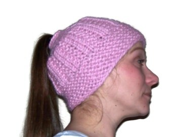 Messy Bun Hat, Ponytail Hat, Knit Hat, Warm Hat