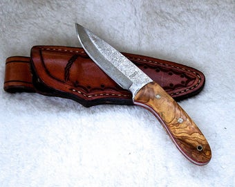 Exotic San Mai Drop Point Skinning Knife, Hunting Knife, EDC Knife, Olivewood  Handles, Custom Tooled Leather  Sheath, #1707