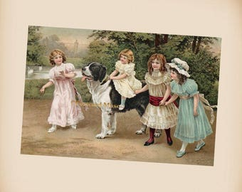 Girls With A Dog - New 4x6 Vintage Postcard Image Photo Print - IL04