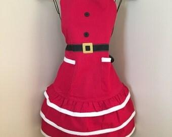 Christmas Apron   Saying   Monogram Kitchen Apron   Red   Fall   Thanksgiving Apron   Full Apron   Santa Apron   Embroidered Apron   Gift