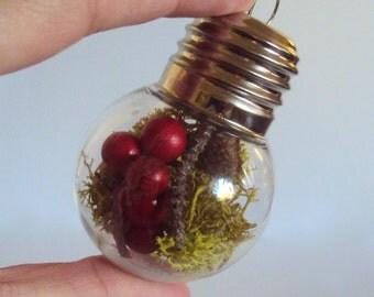 Woodland Lightbulb Bauble - Moss & Berries Ornament - Rustic Christmas Bauble - Mossy Nature Terrarium - Lightbulb Ornament Christmas Decor