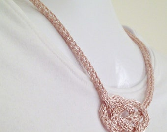 Rose gold Viking knit chain Celtic Knot necklace