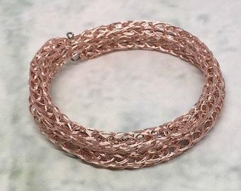 ladies rose gold viking knit metalwork wrap bracelet