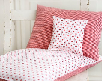 Doll bedding *Flowers & Dots* Red White Bed linen for doll bed cradle