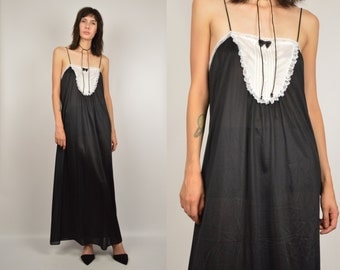 Black Slip Maxi Dress vintage lingerie