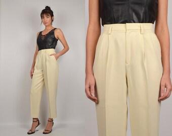 Cream Silk Trousers high waist vintage minimalist pants
