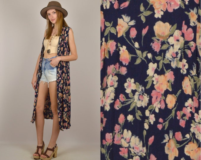 Floral Print Duster Jacket vintage bohemian hippie
