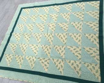Green Flannel Quilt, green, flannel, half-square triangles, handmade, MaterialThings2