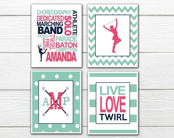 Baton twirling  Print Set-  Personalized - Twirler  Print - Canvas Available