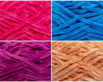 Chenille Yarn. 100% Micro Fiber yarn, Knitting crochet supplies. Chunky