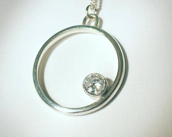 Sterling Silver Circle Necklace, Statement Necklace, Gemstone Necklace, Statement Pendant