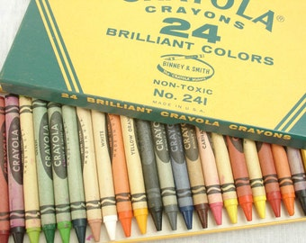 vintage binney & smith crayola crayons box set of 24 colors,NOS,flesh