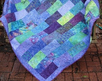 Quilt - Lap Quilt, Sofa Quilt, Quilted Throw - Jamboree Batik Lap Quilt