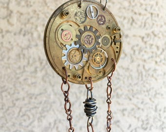 Gift for Her, SteamPunk Gear Pendant, Statement Necklace, SteamPunk, Vintage, Industrial, Clock Necklace