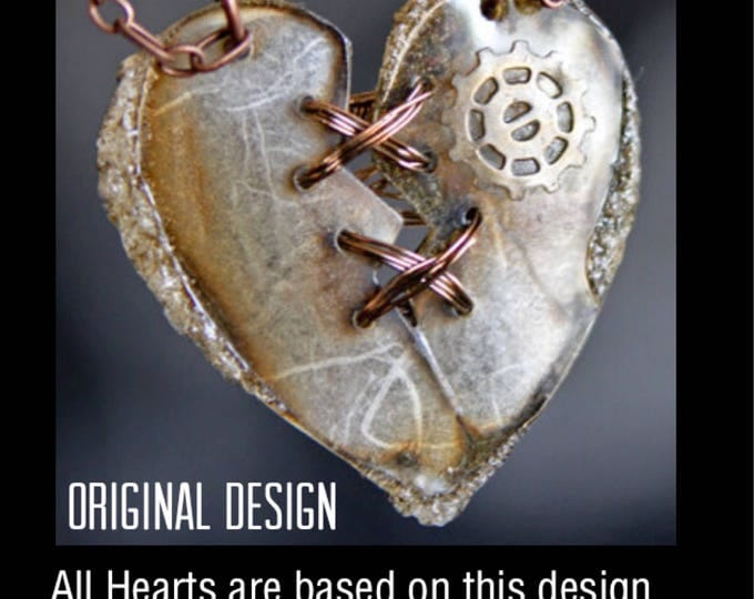 Featured listing image: Heart Necklace, Statement Necklace, Guft fir Her, Heart Pendant, SteamPunk Heart, Steampunk Jewlery, Pendant, Broken Heart, Art Jewelry