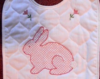 Hand Embroidered Bunny Baby Bib