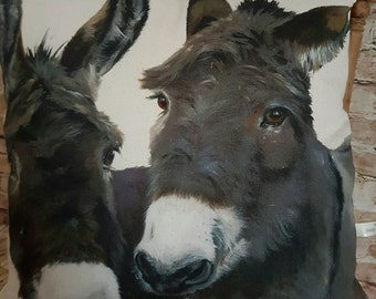 Handmade Square Rustic Cushion Pillow With Two Grey Donkeys With Or Without Inner