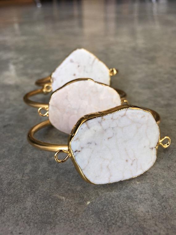 White Howlite Cuff Bracelets