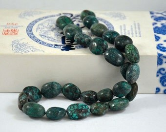 Natural Turquoise Beads Real Turquoise Old Turquoise Beads 13beads Nugget Oval