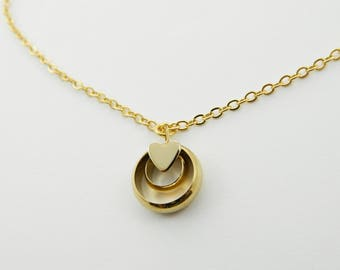 Gold Heart Circle Charm Necklace