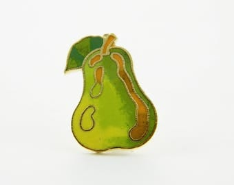 Vintage Pear Pin - Cloisonne Pear Brooch - BR003b