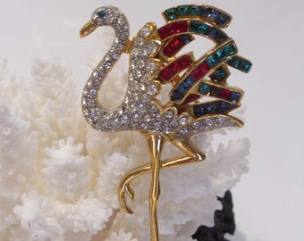 Flamingo Stork Figural Rhinestone Brooch Pin Unsigned