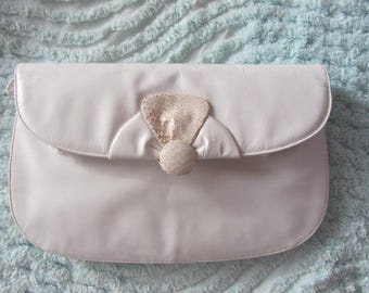 Ottino of Florence, Italy White Leather Clutch/Shoulder Purse