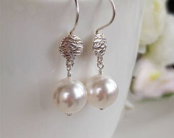 White Swarovski Pearl Earrings Handmade Sterling Silver Earwires Wedding Jewelry Simple Bridal Jewelry June BirthStone Gift For Her