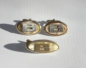 Vintage Cufflinks and Tie Bar Initial B - Mother of Pearl Gold Tone Mens Accessories 1950s