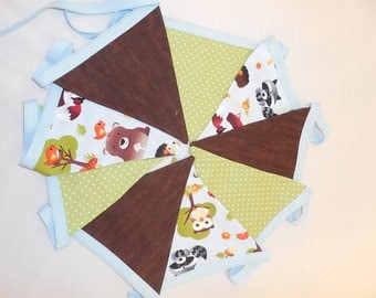 Blue, Brown And Green Woodland Forest Animal Themed Bunting For Nursery Or Party Decor