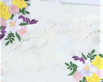 Spring Pastel Floral Tablecloth, embroidery table linen, vintage ruffled round spring tabletop doily 33 inches