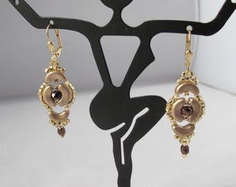 Incan Treasure Earrings in Matte Gold on leverback earwires